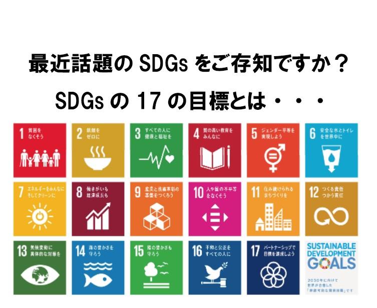 最近話題のSDGsをご存知ですか?SDGsの17の目標