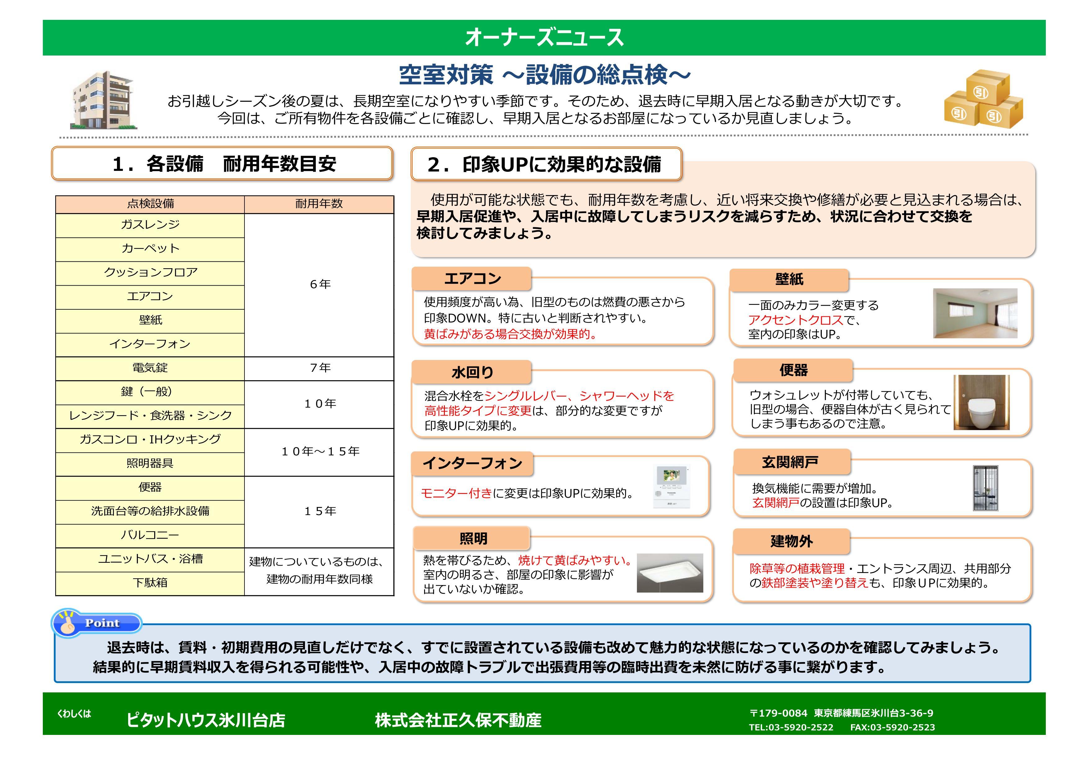 空室対策 ~設備の総点検~
